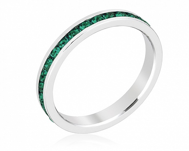 Sparkly Stackable Emerald Green Crystal Eternity Band